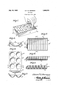 U.S. patent for ice trays 1930